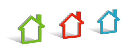 �conomie verte: Trois maisons, symboles 3D avec place pour votre texte