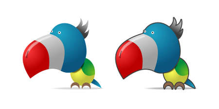 Color parrot, illustration on white, two images Vector