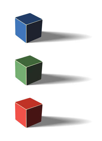 Three color cubes, 3d illustration, with shadows Stock Vector - 14616425