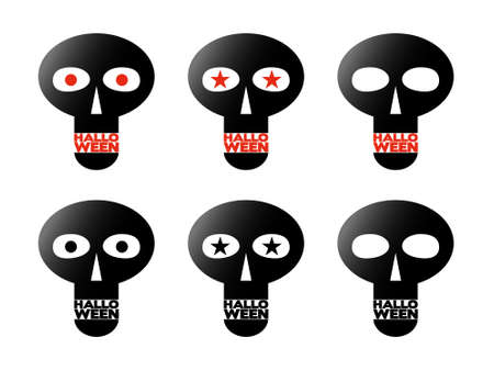 Black skulls, halloween illustration, set Vector