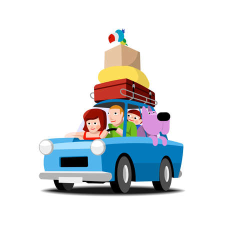 auto illustratie: De familie gaat op vakantie met de auto, illustratie op wit