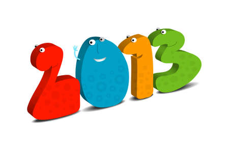 Happy New Year 2013, cartoon illustration Vector