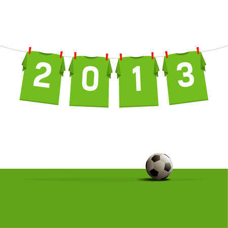 Happy New Year 2013, soccer jerseys on cord, illustration Stock Vector - 14977385