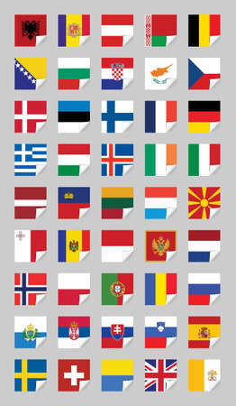 Flags of European States, on grey Vector