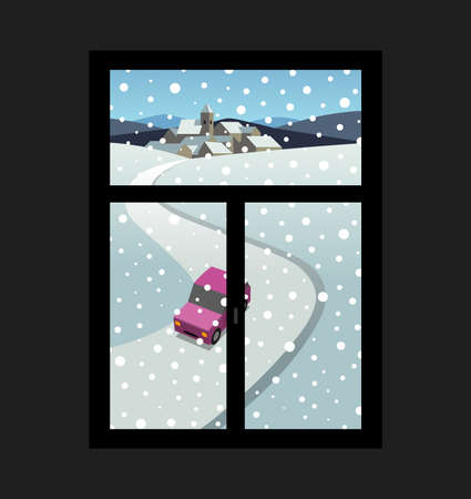 Winter landscape outside the window, illustration Vector