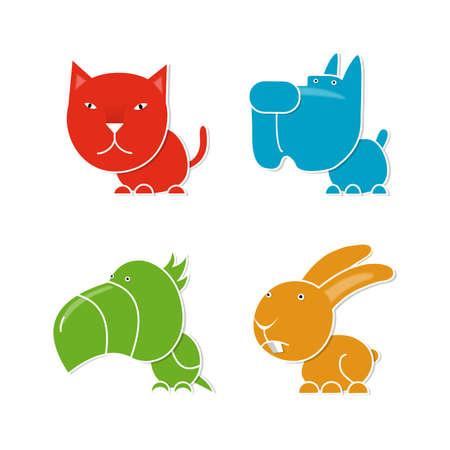 Four pets, cat, dog, parrot and rabbit