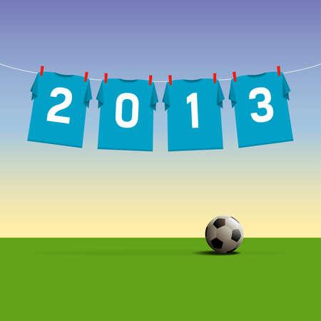 Happy New Year 2013, soccer jerseys on cord, illustration