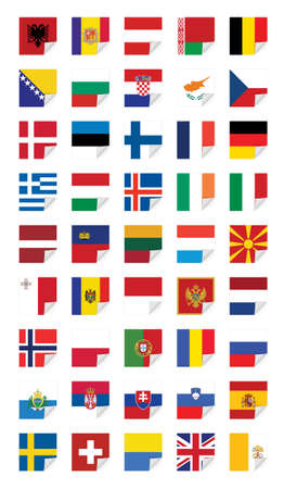 Flags of European States, on white Vector