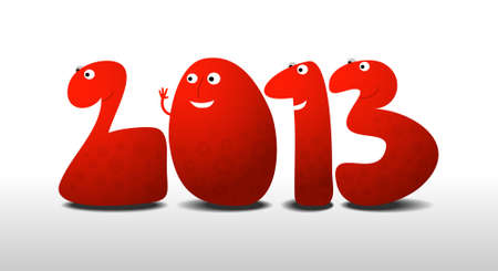 Happy New Year 2013, cartoon illustration Stock Vector - 15687848