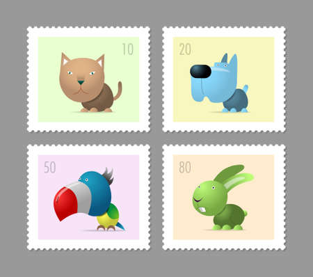 Four postage stamps with pets, cat, dog, parrot and rabbit
