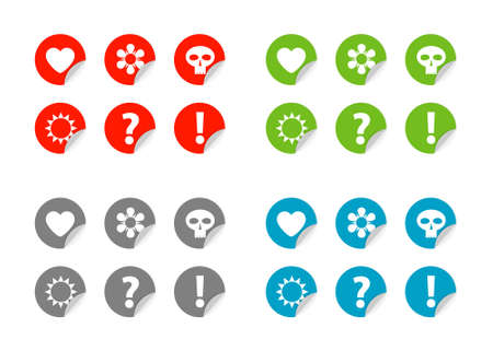Color labels, set color labels with symbols Stock Vector - 15789676