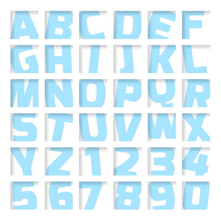 Blue letters and numbers, cropped font