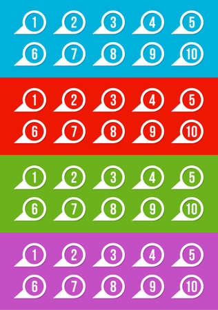 Labels with numbers, on blue, red, green and violet Illustration
