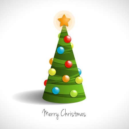 Christmas tree, illustration on white