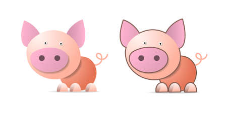 Pig, cartoon illustration on white Vector