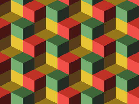 stacking: Cubes, infinite background, green, yellow and red cubes