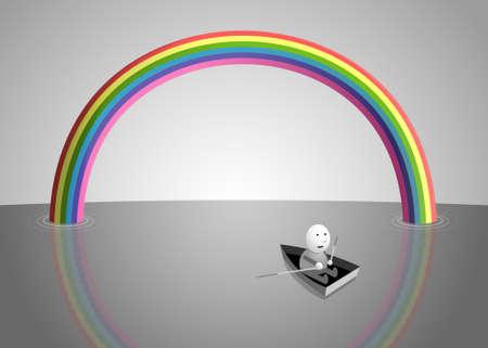 Rainbow over the sea, cartoon illustration