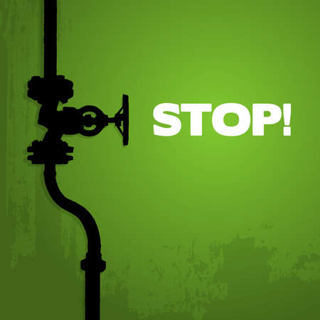 gas tap: Old valve, silhouette on green, illustration