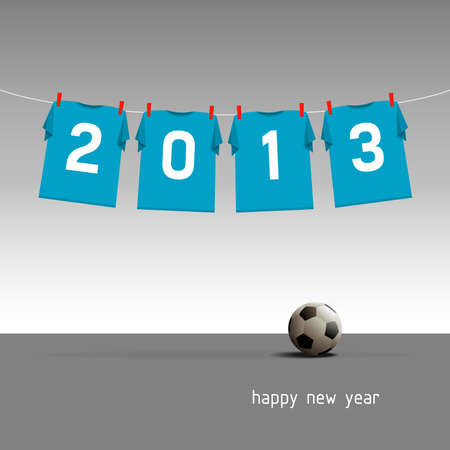 Happy New Year 2013, soccer jerseys on cord, illustration Vector