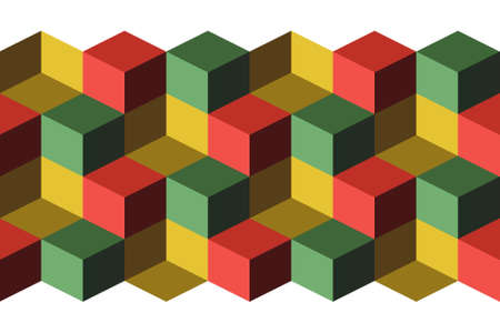 Cubes, infinite background, green, yellow and red cubes