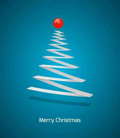 Christmas tree. abstract illustration on blue Illustration