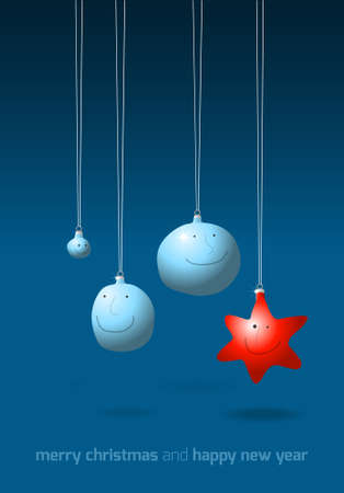 Christmas decorations on blue, cartoon illustration Vector