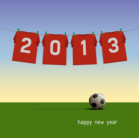 Happy New Year 2013, soccer jerseys on cord, illustration Stock Vector - 16778867