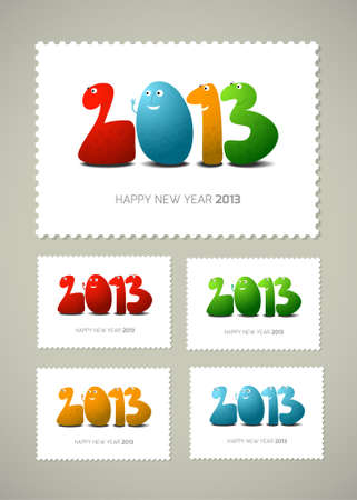 Four postage stamps Happy new  year, cartoon illustration Stock Vector - 16778894