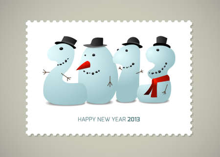 Postage stamp Happy new  year, cartoon illustration Illustration