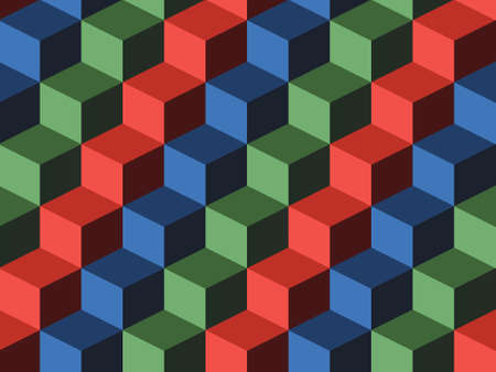 Cubes, infinite background, green, blue and red cubes Vector