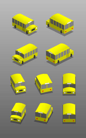 Schoolbus in different positions Illustration