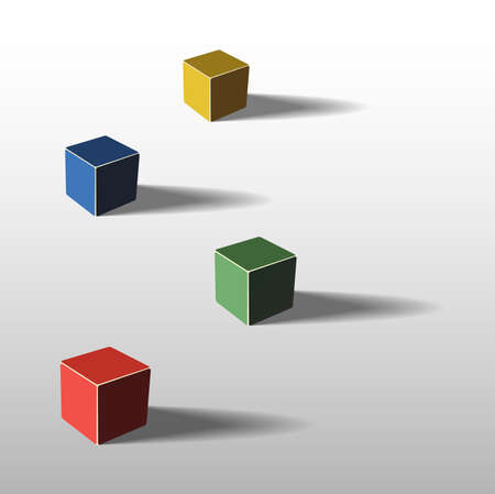Four color cubes, 3d illustration, with shadows