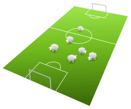 Sheeps on the football field, cartoon illustration Stock Vector - 17068825