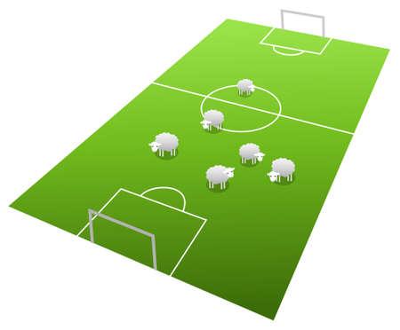 offside: Sheeps on the football field, cartoon illustration Illustration