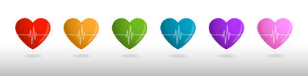pulsating: Color hearts with cardiogram, Valentines card