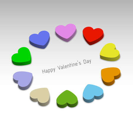 3D color hearts, Valentines card