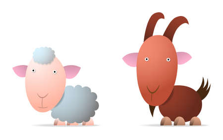 Sheep and goat, cartoon illustration Vector