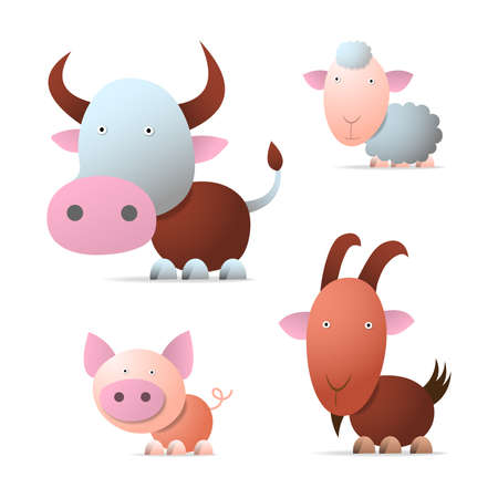 Cow, pig, sheep and goat, cartoon illustration