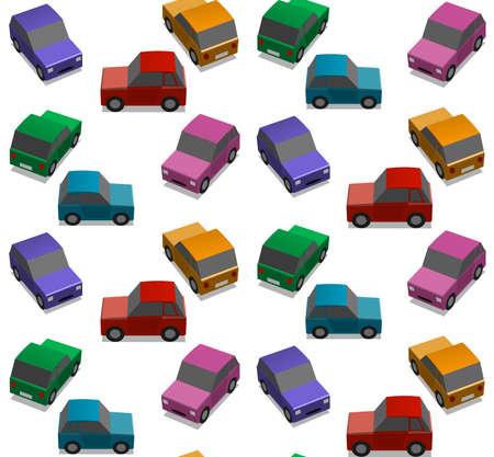 caja de cerillas: Los coches peque�os, ilustraci�n de fondo, patr�n infinito