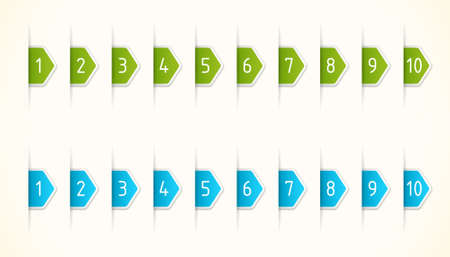 Green and blue labels with numbers Illustration