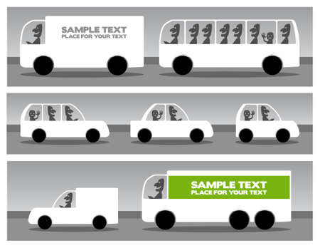 White silhouettes of cars, black and white illustrations with place for your text Illustration