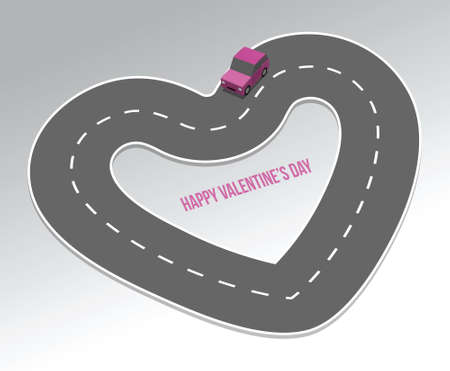 Road in the shape of heart, illustration, greeting card to Valentine's Day Stock Illustratie