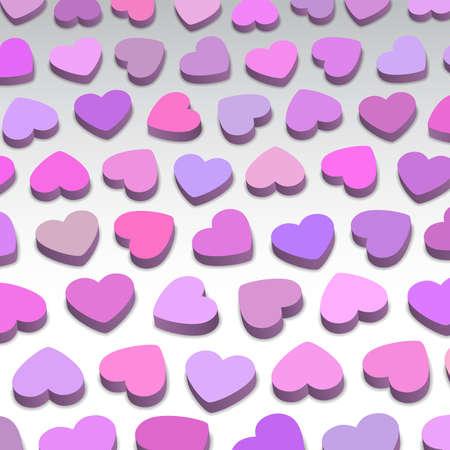 3D hearts, background illustration