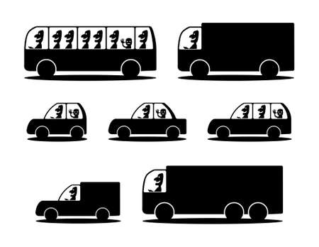 Black silhouettes of cars Vector