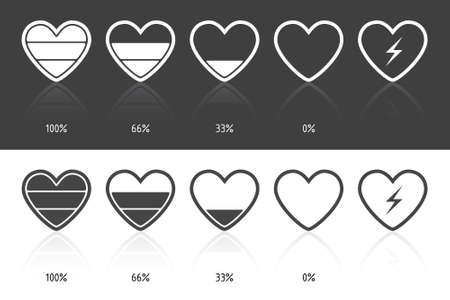 Set of icons in heart shape, on white