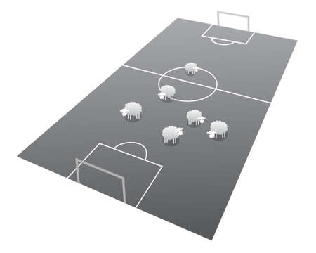 Sheeps on the soccer field, cartoon illustration Stock Vector - 17976179