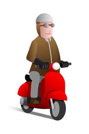 Man on red scooter, cartoon illustration