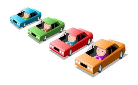 Set colored cars, cartoon illustration Stock Illustratie