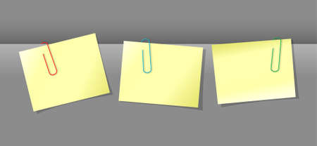 conjunction: Three yellow papers conjunction with colored paper clips Illustration