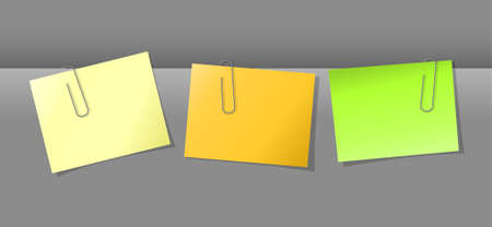 Three papers conjunction with colored paper clips